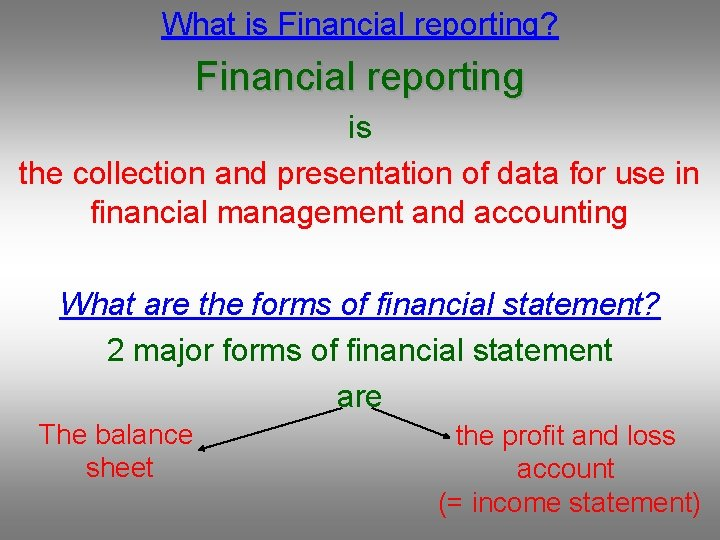 What is Financial reporting? Financial reporting is the collection and presentation of data for