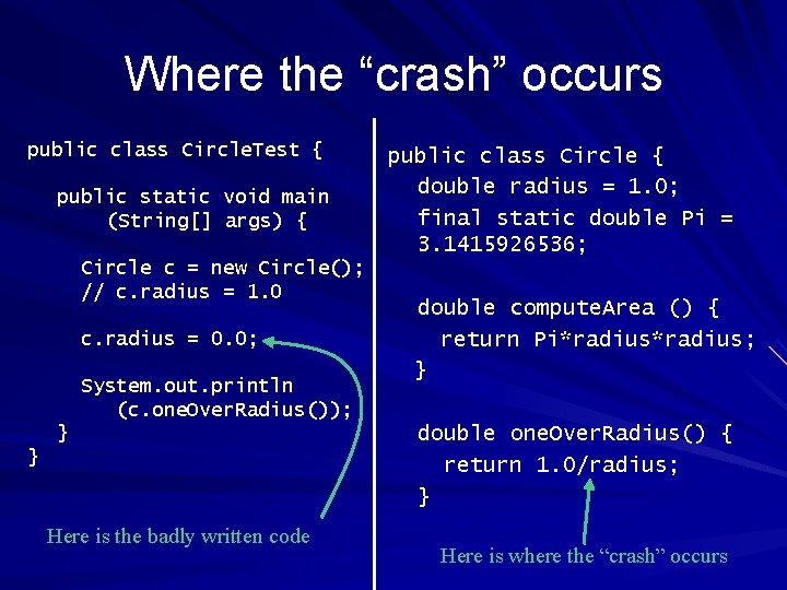 "Where the ""crash"" occurs public class Circle. Test { public static void main (String[]"