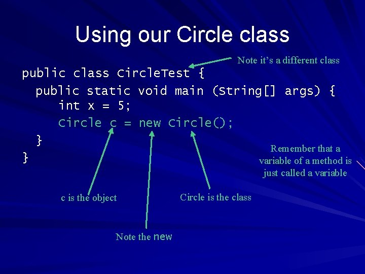 Using our Circle class Note it's a different class public class Circle. Test {