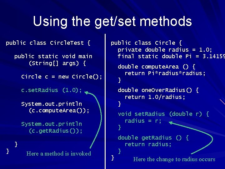 Using the get/set methods public class Circle. Test { public static void main (String[]