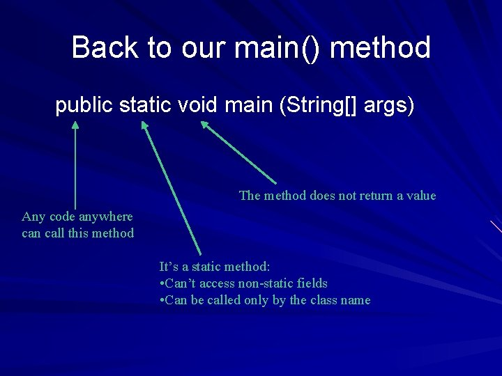 Back to our main() method public static void main (String[] args) The method does