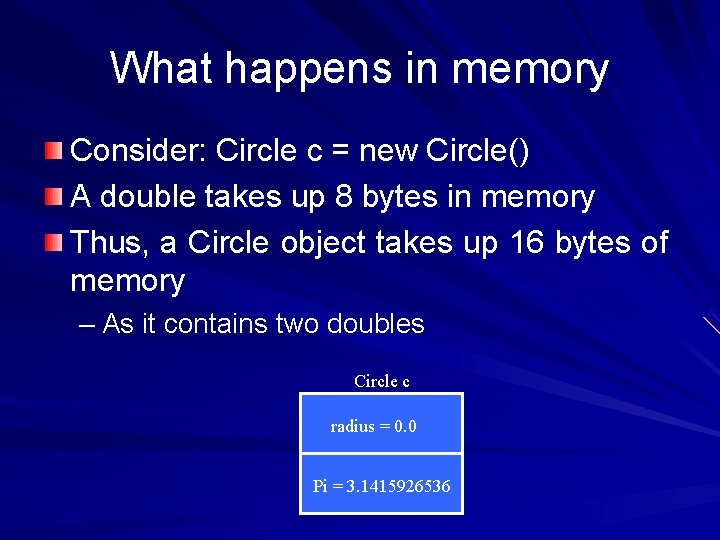 What happens in memory Consider: Circle c = new Circle() A double takes up