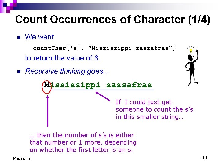 """Count Occurrences of Character (1/4) n We want count. Char('s', """"Mississippi sassafras"""") to return"""