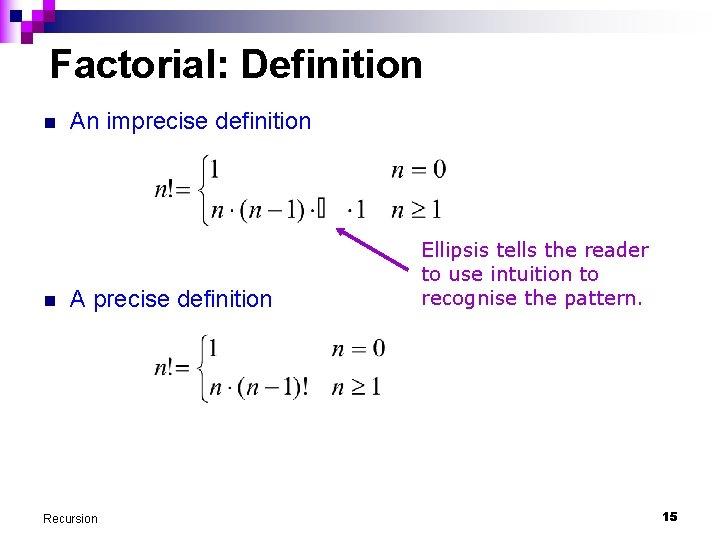 Factorial: Definition n n An imprecise definition A precise definition Recursion Ellipsis tells the