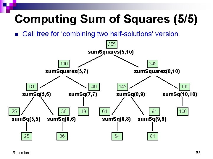 Computing Sum of Squares (5/5) n Call tree for 'combining two half-solutions' version. 355