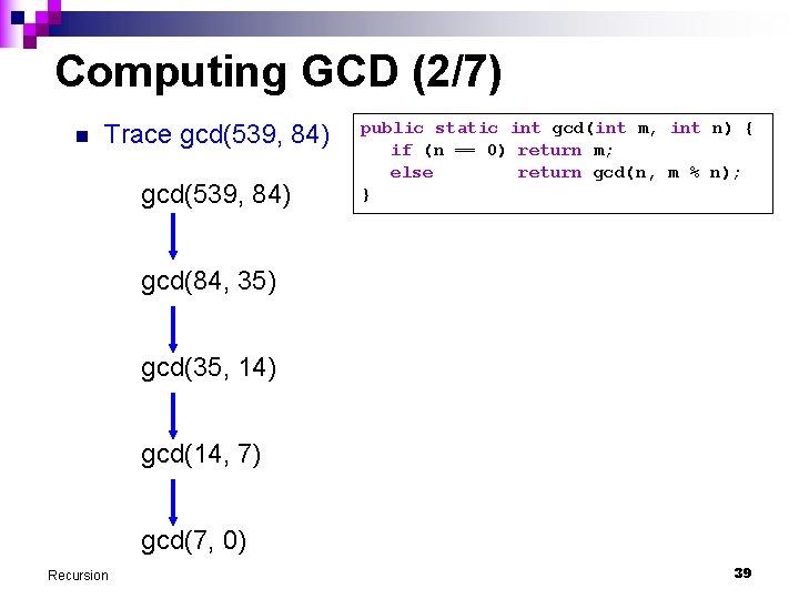 Computing GCD (2/7) n Trace gcd(539, 84) public static int gcd(int m, int n)