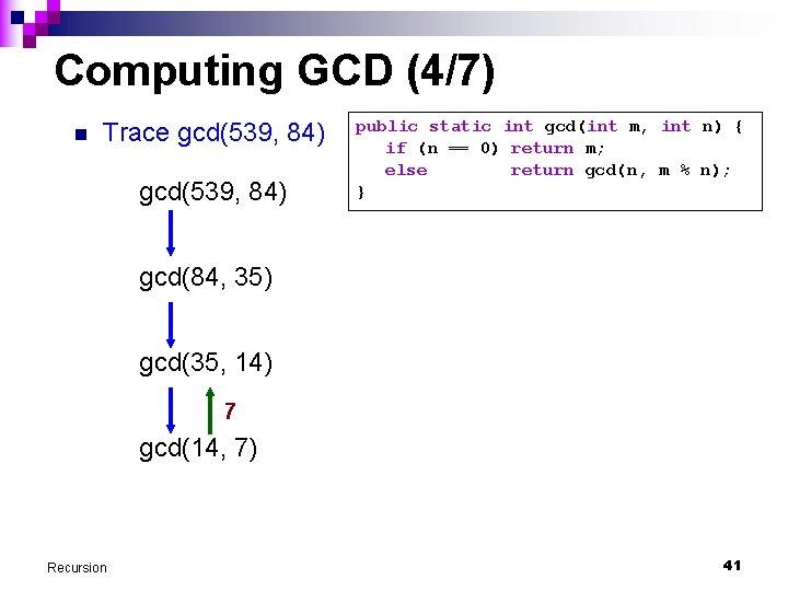 Computing GCD (4/7) n Trace gcd(539, 84) public static int gcd(int m, int n)