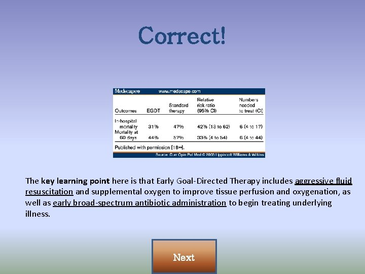 Correct! The key learning point here is that Early Goal-Directed Therapy includes aggressive fluid