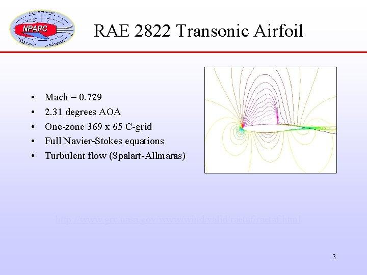 RAE 2822 Transonic Airfoil • • • Mach = 0. 729 2. 31 degrees