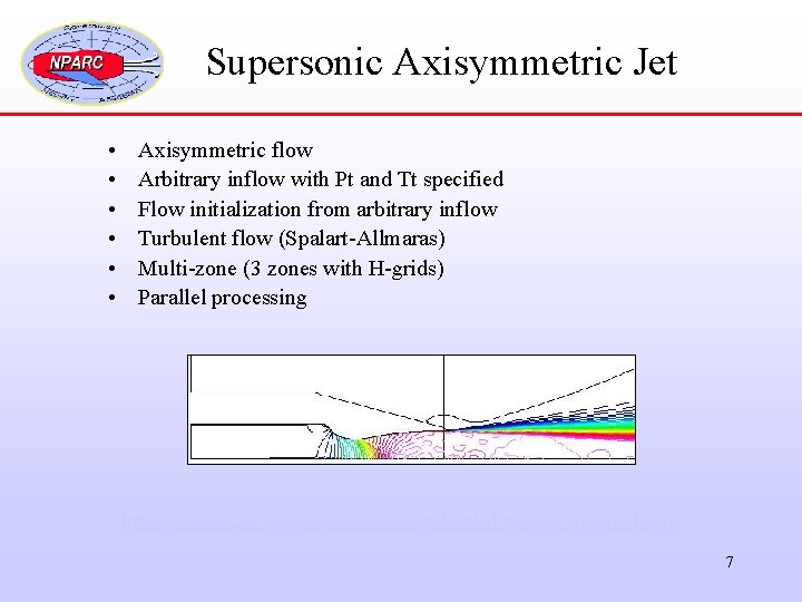 Supersonic Axisymmetric Jet • • • Axisymmetric flow Arbitrary inflow with Pt and Tt