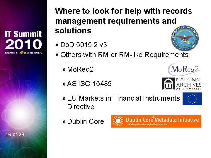Where to look for help with records management requirements and solutions § Do. D
