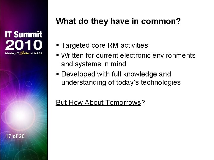 What do they have in common? § Targeted core RM activities § Written for