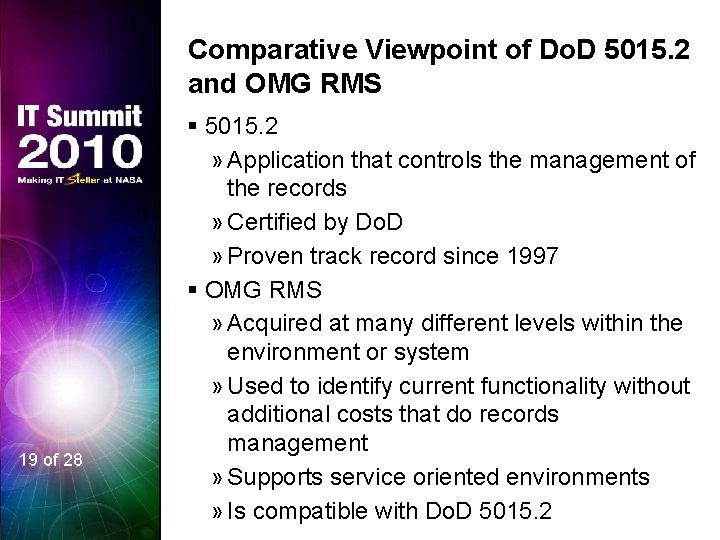 Comparative Viewpoint of Do. D 5015. 2 and OMG RMS 19 of 28 §