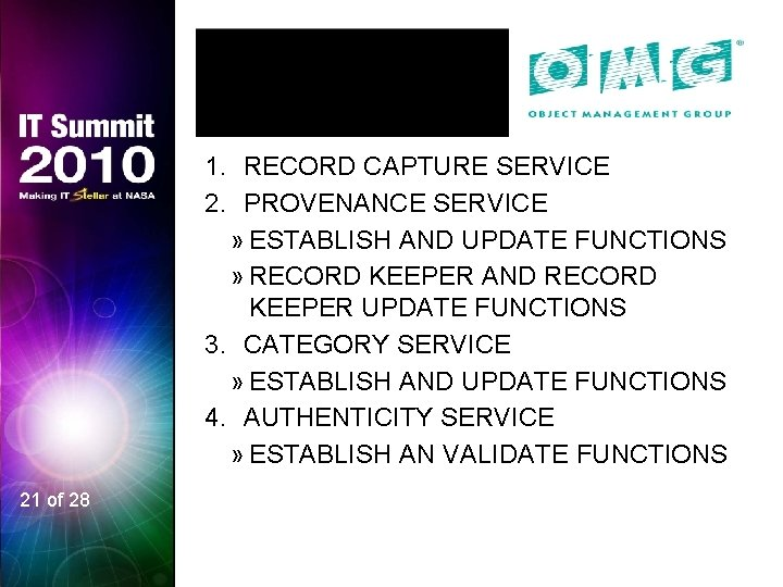 1. RECORD CAPTURE SERVICE 2. PROVENANCE SERVICE » ESTABLISH AND UPDATE FUNCTIONS » RECORD