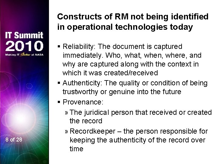 Constructs of RM not being identified in operational technologies today 8 of 28 §