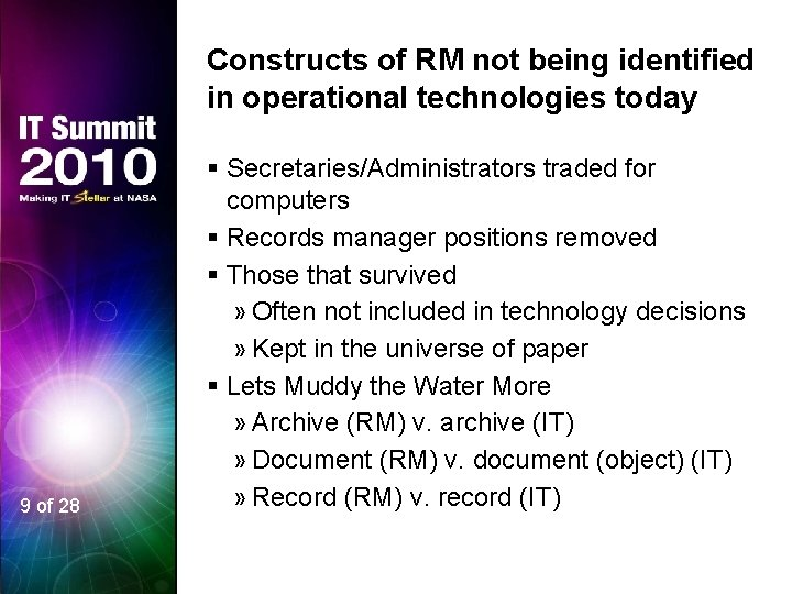 Constructs of RM not being identified in operational technologies today 9 of 28 §