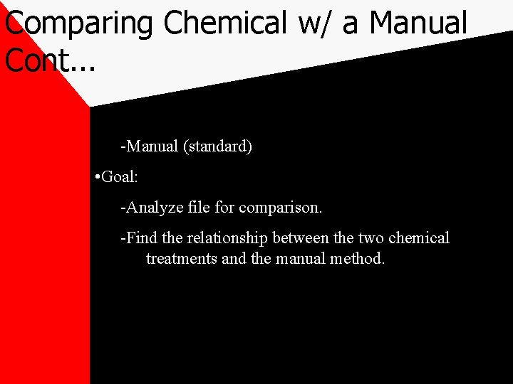Comparing Chemical w/ a Manual Cont. . . -Manual (standard) • Goal: -Analyze file