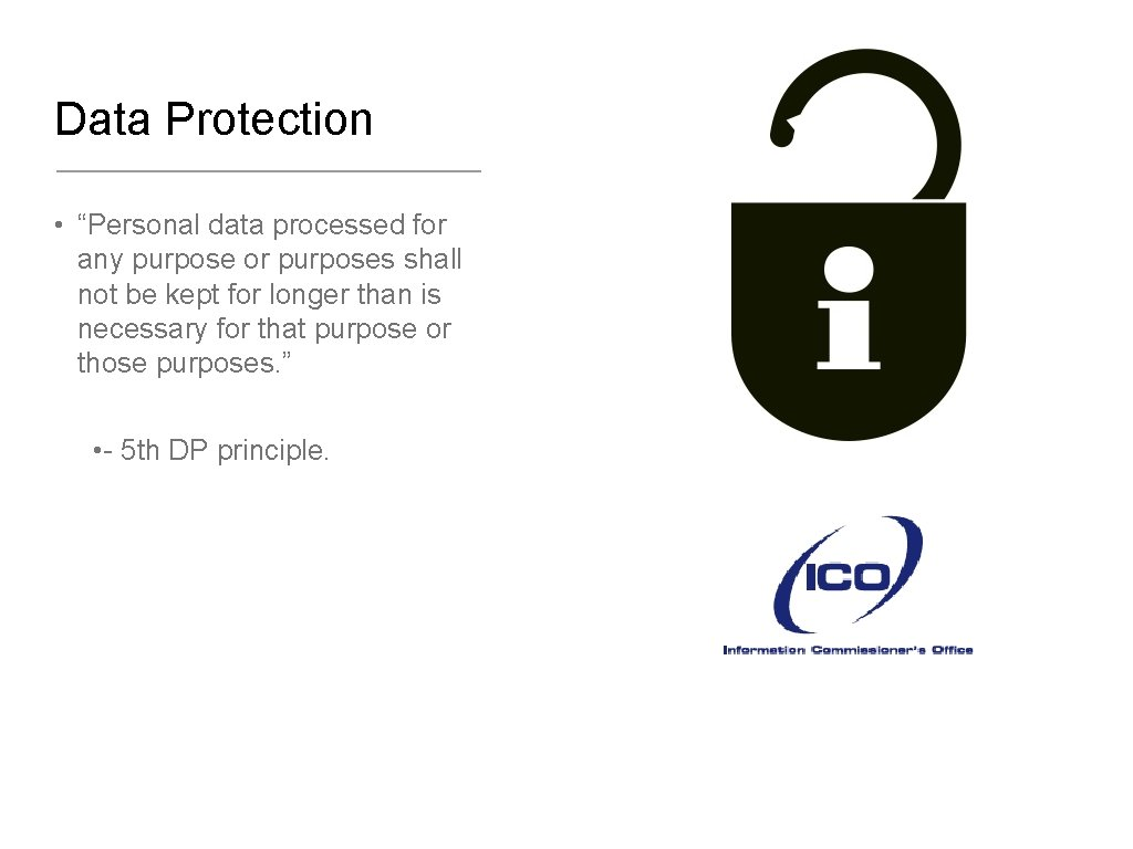 """Data Protection • """"Personal data processed for any purpose or purposes shall not be"""
