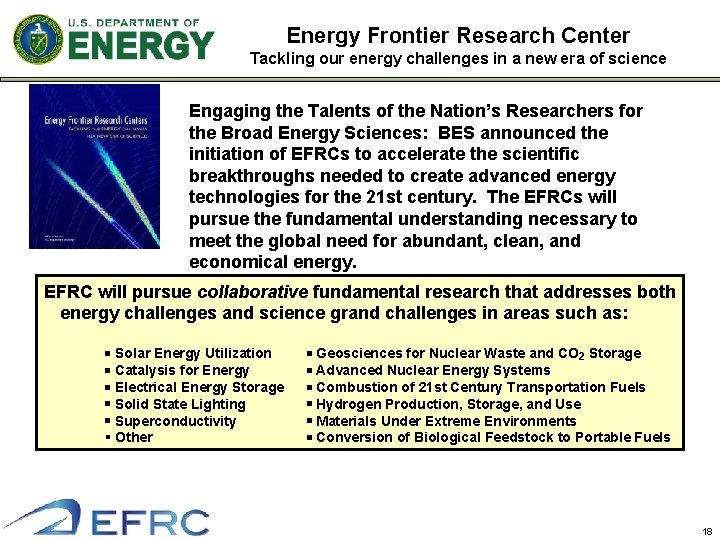 Energy Frontier Research Center Tackling our energy challenges in a new era of science
