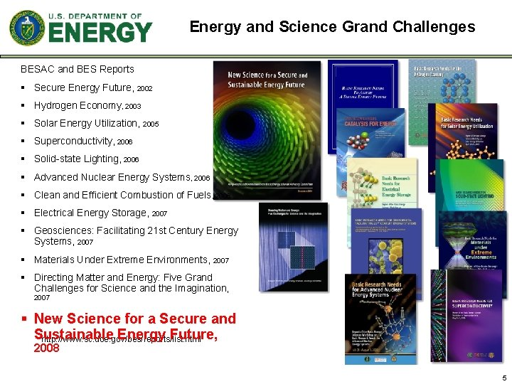 Energy and Science Grand Challenges BESAC and BES Reports § Secure Energy Future, 2002