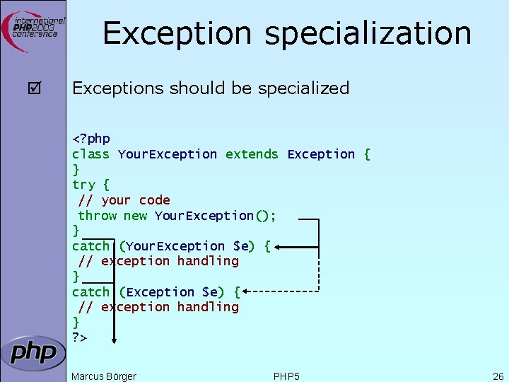 Exception specialization þ Exceptions should be specialized <? php class Your. Exception extends Exception