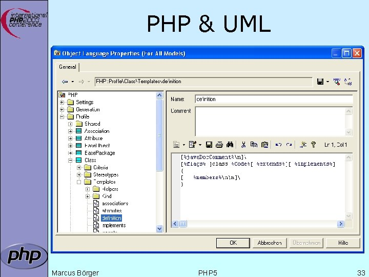 PHP & UML Marcus Börger PHP 5 33
