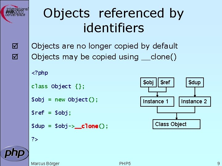 Objects referenced by identifiers þ þ Objects are no longer copied by default Objects