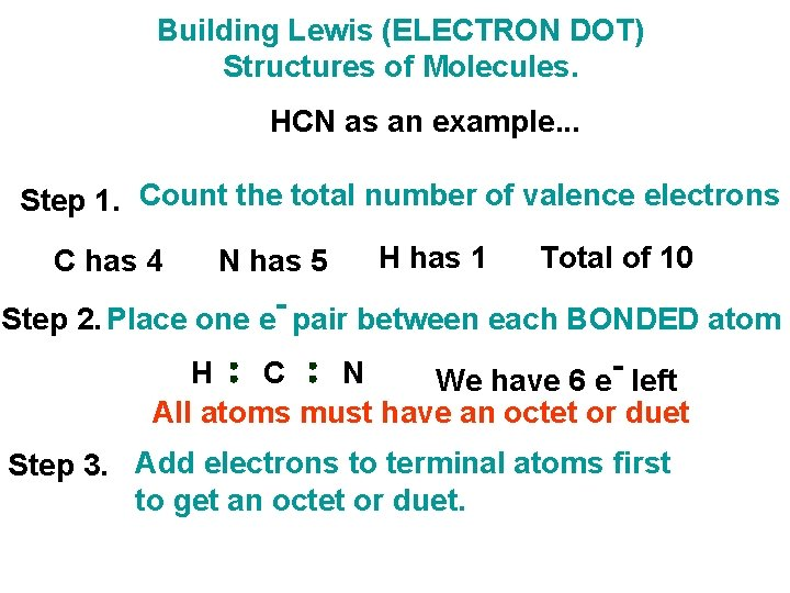 Building Lewis (ELECTRON DOT) Structures of Molecules. HCN as an example. . . Step