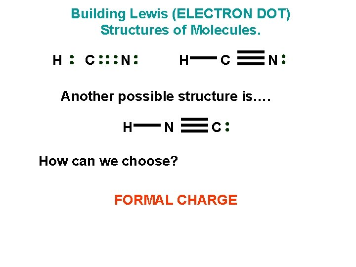 Building Lewis (ELECTRON DOT) Structures of Molecules. H C N Another possible structure is….