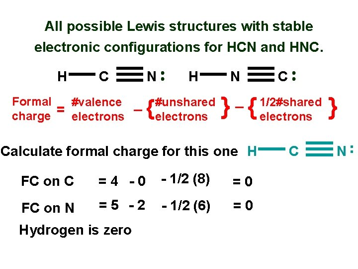 All possible Lewis structures with stable electronic configurations for HCN and HNC. H C
