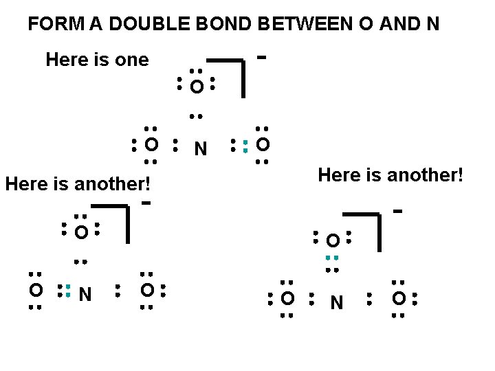FORM A DOUBLE BOND BETWEEN O AND N - Here is one O O