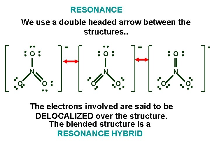 RESONANCE We use a double headed arrow between the structures. . O O N