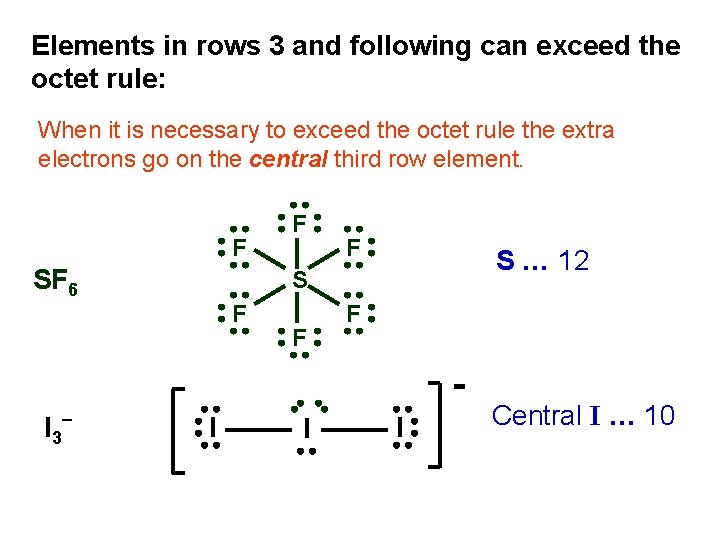 Elements in rows 3 and following can exceed the octet rule: When it is