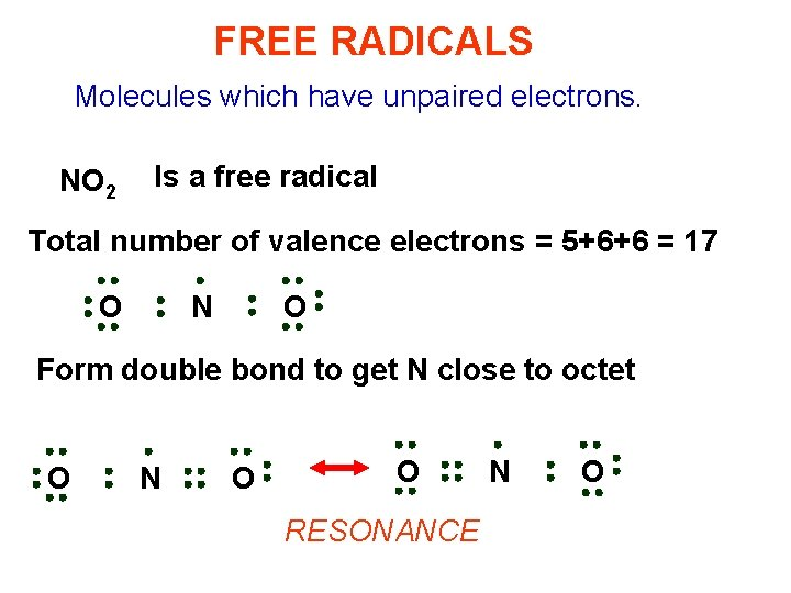 FREE RADICALS Molecules which have unpaired electrons. NO 2 Is a free radical Total
