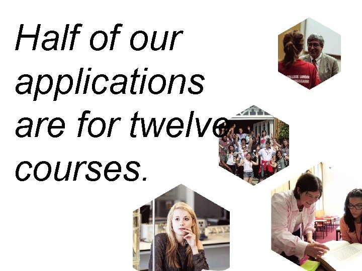 Half of our applications are for twelve courses.