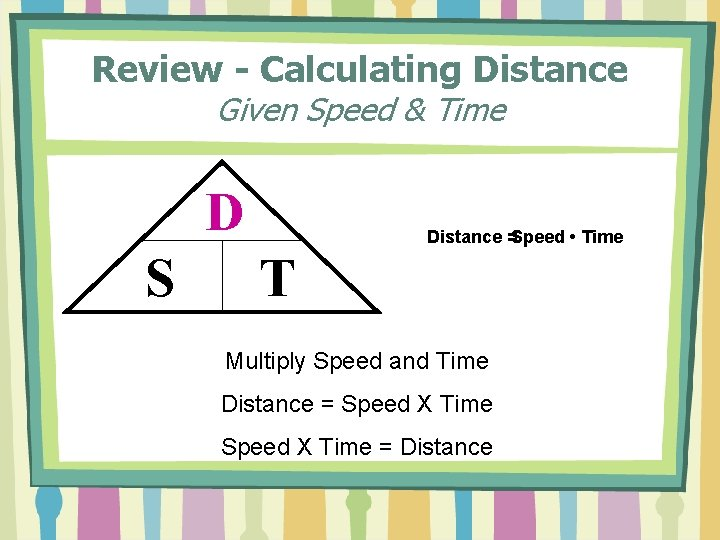 Review - Calculating Distance Given Speed & Time D S Distance =Speed • Time