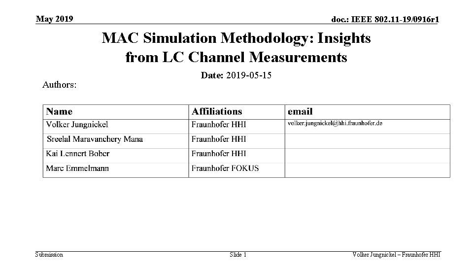 May 2019 doc. : IEEE 802. 11 -19/0916 r 1 MAC Simulation Methodology: Insights
