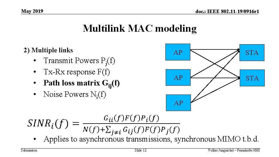 May 2019 doc. : IEEE 802. 11 -19/0916 r 1 Multilink MAC modeling 2)