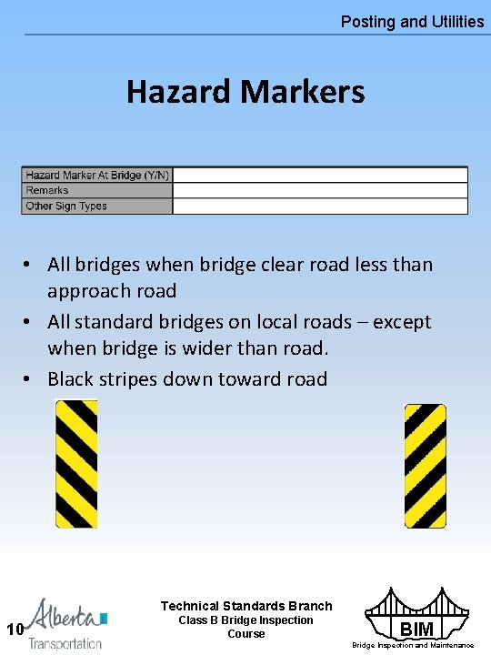 Posting and Utilities Hazard Markers • All bridges when bridge clear road less than