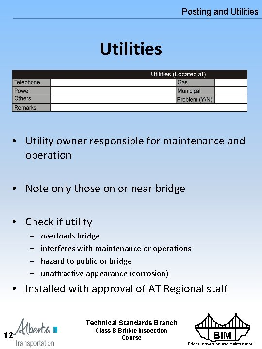 Posting and Utilities • Utility owner responsible for maintenance and operation • Note only