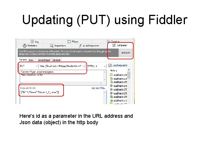 Updating (PUT) using Fiddler Here's id as a parameter in the URL address and