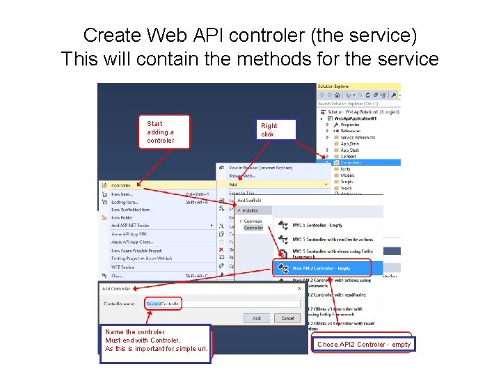 Create Web API controler (the service) This will contain the methods for the service