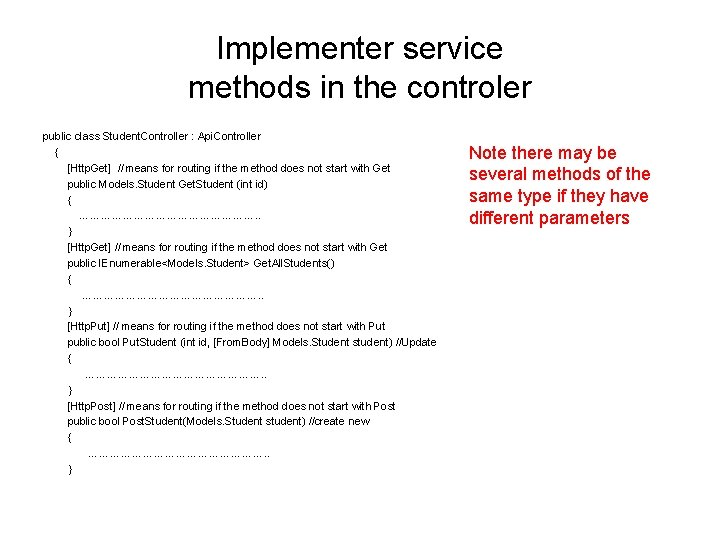 Implementer service methods in the controler public class Student. Controller : Api. Controller {