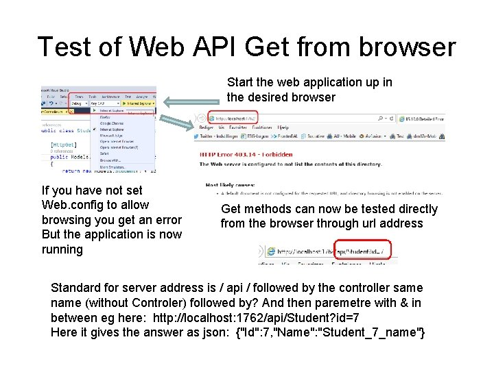 Test of Web API Get from browser Start the web application up in the