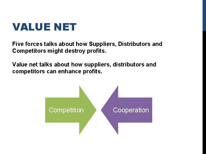 VALUE NET Five forces talks about how Suppliers, Distributors and Competitors might destroy profits.