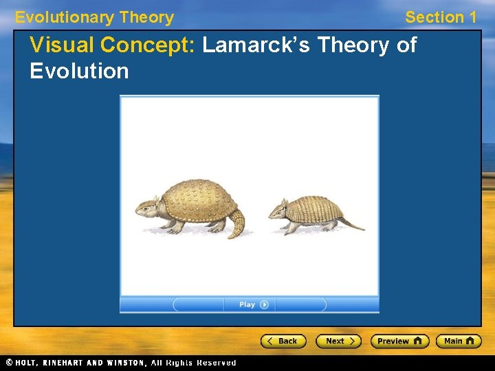 Evolutionary Theory Section 1 Visual Concept: Lamarck's Theory of Evolution