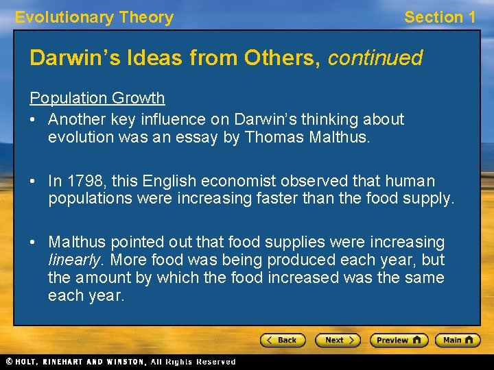 Evolutionary Theory Section 1 Darwin's Ideas from Others, continued Population Growth • Another key