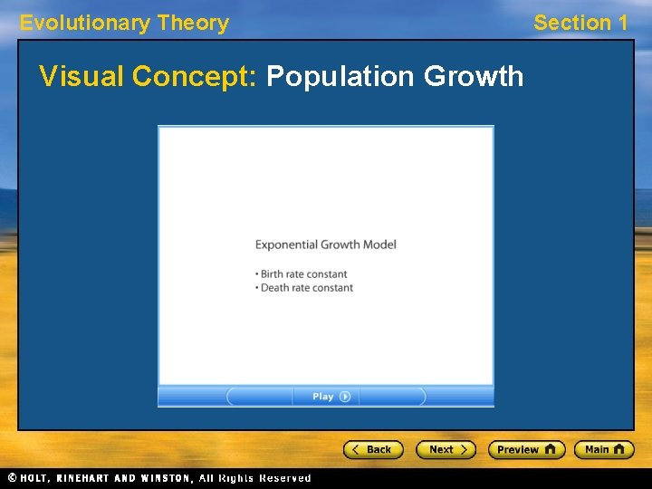 Evolutionary Theory Visual Concept: Population Growth Section 1