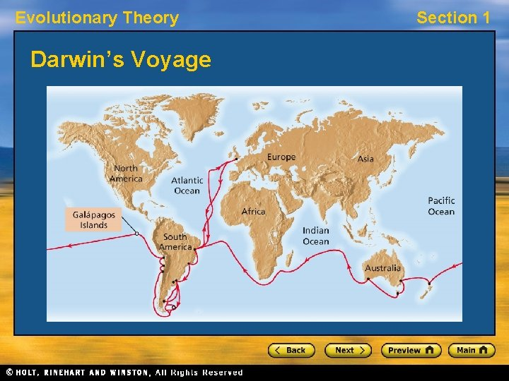 Evolutionary Theory Darwin's Voyage Section 1