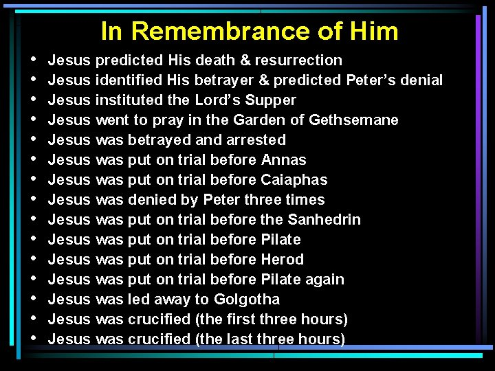 In Remembrance of Him • • • • Jesus predicted His death & resurrection